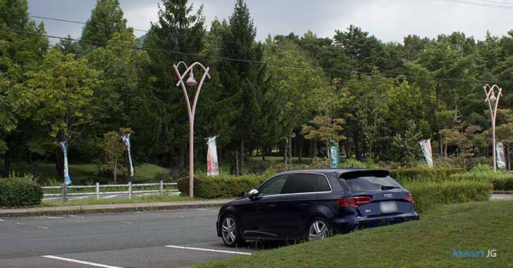 後ろ向き駐車するアウディA3