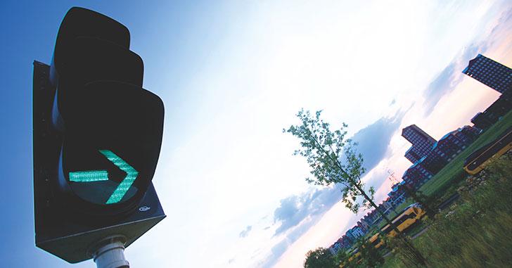 青色の矢印信号